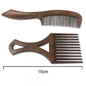 Plastic Brown Afro Comb Set of 2 - 15cm