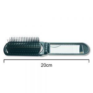 Black Folding Hair Brush With Mirror 20cm