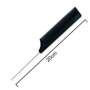 Black metal tail comb 20 cm