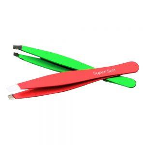 Set of 2 Slant Rubber Textured Eyebrow Tweezer Red & Green
